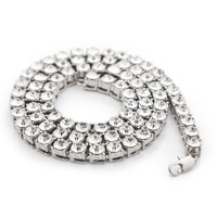 New Fashion Gold Silver Plated Crystal CZ Iced Out 8mm 30inch Chain Necklaces Hip Hop Bling