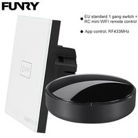 Original Funry EU Standard 1 Gang 1 Way Switch Remote Control WIFI APP Control Light Switch