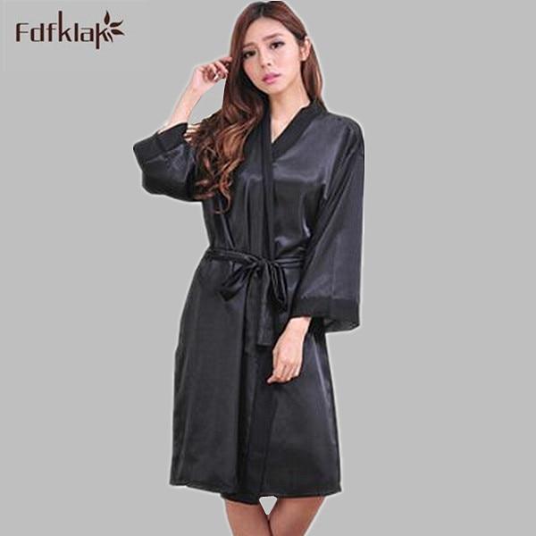 8e2224a3d65 Fashion Satin Nightgown Kimonos Robes Bridesmaid Robes Dressing Gown Robes  For Women Long Sleeve Silk Robe Black White E0119