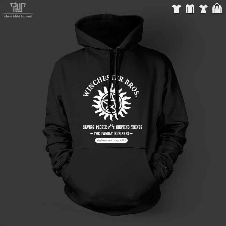 Supernatural Winchester Bros Hurt Things Men Unisex Pullover Hoodie Heavy Hooded Sweatershirt Cotton With Fleece Inside
