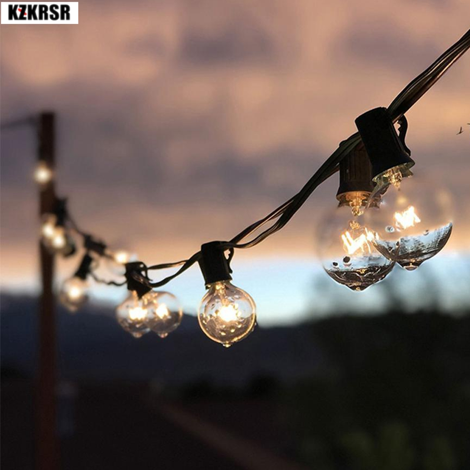 7.6M 25pcs G40 Christmas Lights Indoor/Outdoor Led String Lights E12 Filament bulbs Wedding Lights Patio Backyard Holiday Decor dimmable led warm white string lights indoor outdoor use connectable 48 length with 15 led bulbs for porch patio free shipping