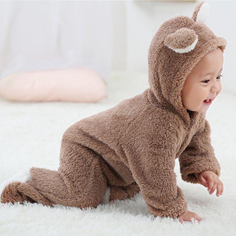 Frühling Herbst Baby Kleidung Flanell Baby Jungen Kleidung Cartoon Tier 3D Bär Ohr Strampler Overall Warme Neugeborenen Säuglingsspielanzug