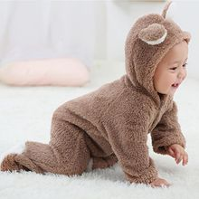 Весенне-осенняя одежда для малышей, фланелевая одежда для маленьких мальчиков, комбинезон с объемными ушками медведя, теплый комбинезон для новорожденных