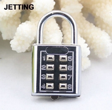 1PCS High Quality New Style 4 Digit Push Button Combination Padlock Silver Number Luggage Travel Code Lock Travel Accessories excellent quality 4 dial digit number combination travel security code password lock padlock brand new sl16 094