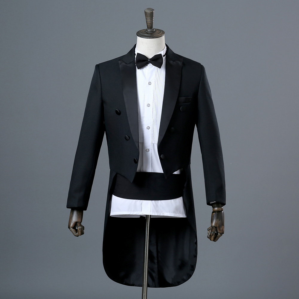 Men s Tuxedo Tuxedo Magic Performance Conductor Costume Artist s Performance Jazz Suit Dance Competition