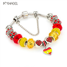Poshfeel National Spain Flag Charm Bracelets Female Bracelets & Bangles Diy Crystal Jewelry Mbr170243