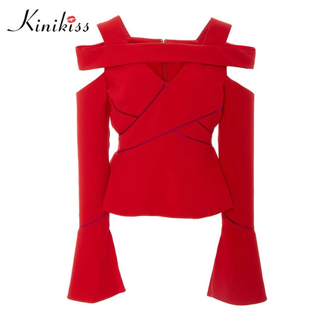 Kinikiss women backless blouse  11.11 global shopping festival solid red fashion sexy hollow out patchwork slash neck new blouse