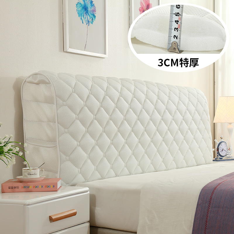 European Fabric All-inclusive Bed Head Cover Solid Wood Bed Anti-collision Head Back Cover Curved Dust Protection Cover
