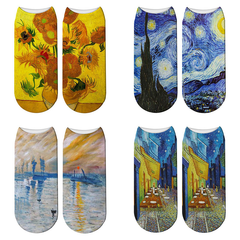 Classic Oil Painting   Sock   3D Printed   Socks   Women Van Gogh Art   Socks   Sunflower Starry Sky Low Cut Casual   Socks   Drop Shipping