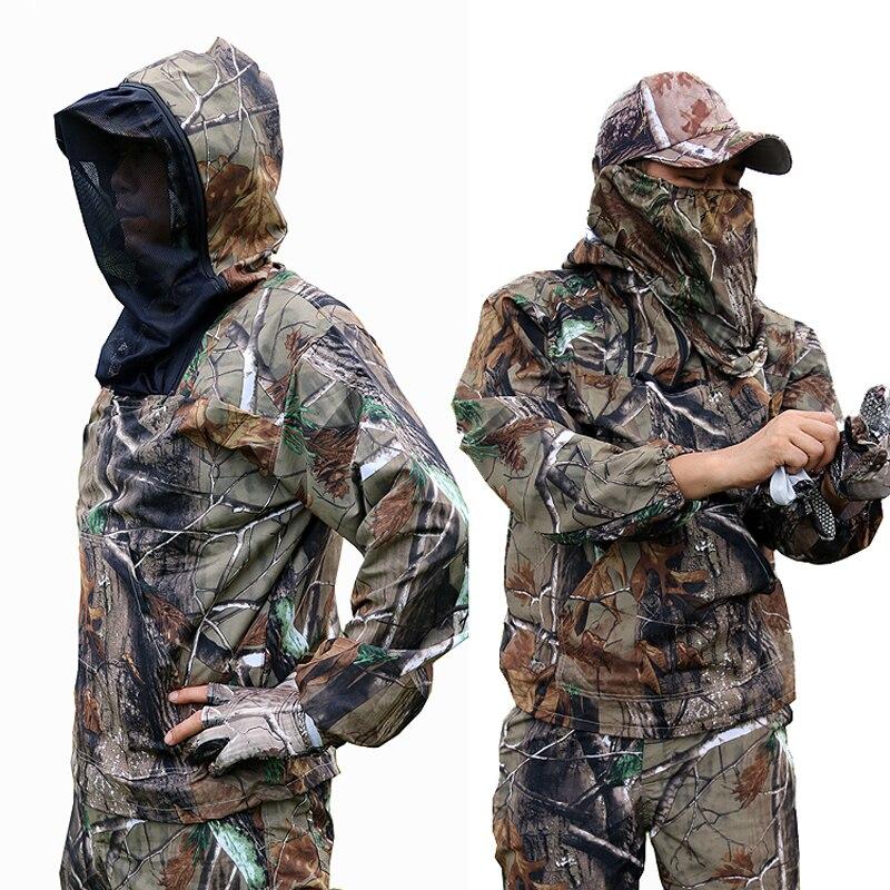 Costume de Camouflage bionique Ultra-mince d'été Anti-moustique pêche vêtements de chasse tactique Ghillie costume veste pantalon ensemble - 2