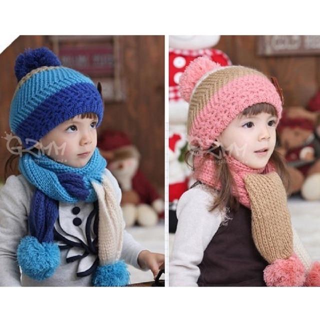 Hooyi Crochet Malha Crianças Chapéus cachecol conjuntos para Meninas Bebes  Meninos Lenços Gorro boina Cap Bebê 4ced8f08611