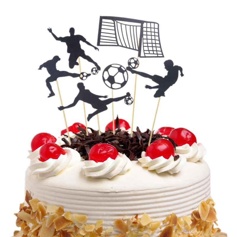 1sets Cake Toppers Flags Football Kids Happy Birthday Black Cupcake Topper Wedding Bride Groom Party Baby Shower Baking DIY Xmas in Cake Decorating Supplies from Home Garden