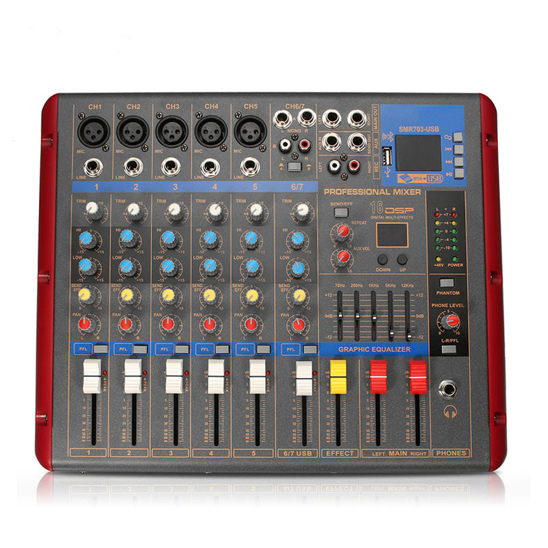 Karaoke Audio Mixer Amplifier Professional Stage Digital Microphone Sound Mixing Console Bluetooth 6 Channel With USB 48V