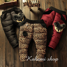 Children winter girls baby Toddler thick trousers warm down cotton fox pants trousers outer wear fur