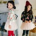 Nueva Princesa Shivering Vestido Grueso de Manga Larga de Algodón Puro Completa Vestido de Falso Dos De Papel Kids Dress 2 Color