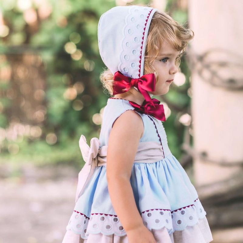 Été espagnol vêtements fille robe Boutique princesse Patchwork arc Vintage robe fête cérémonie vêtements ensemble avec Bonnet G130 - 6