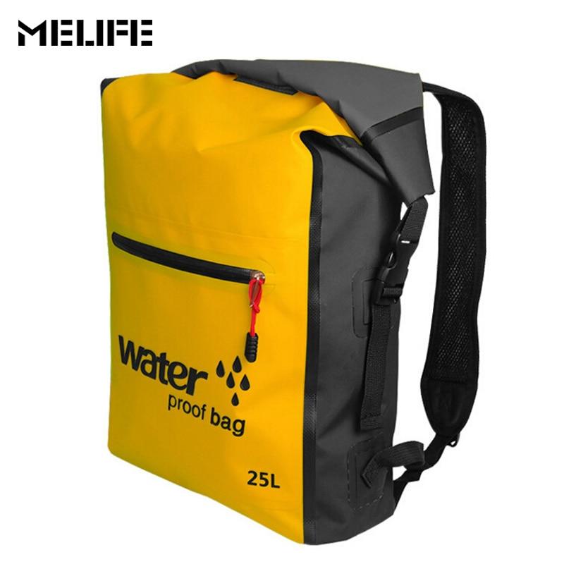 MELIFE 25L Outdoor PVC Waterproof Dry Bag Backpack Sack Ocean Pack Rafting Sports Kayaking Canoeing Swimming Bags Travel Kits