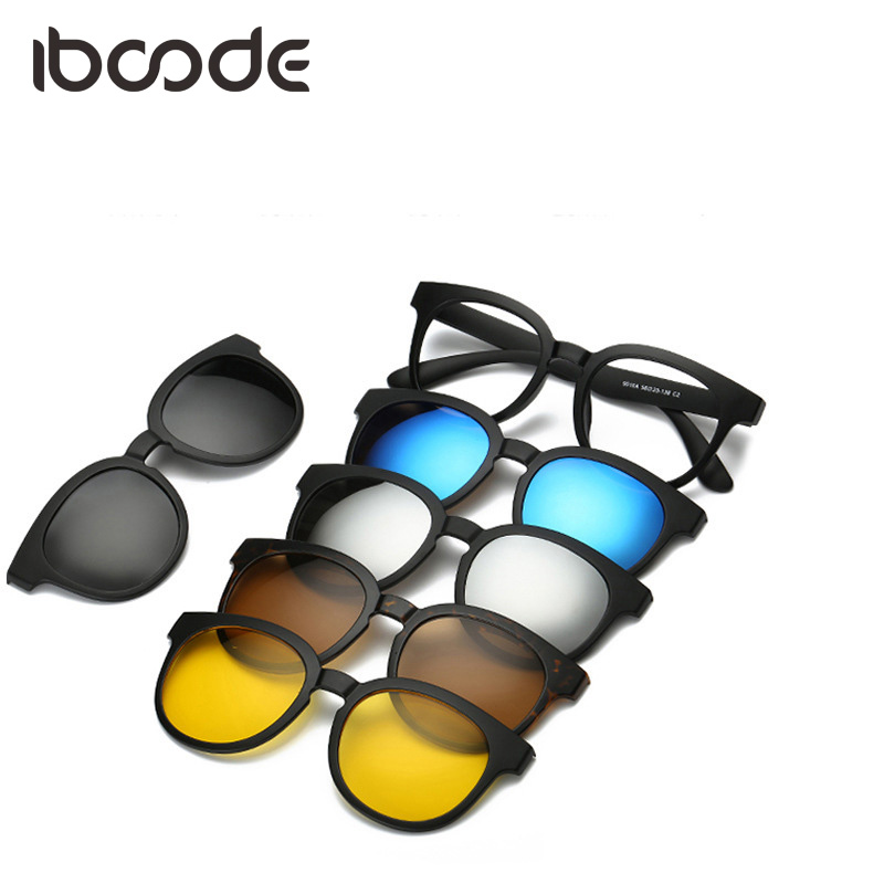Iboode TR90 Sonnenbrille Magnet Klar Objektiv mit 5 Polarisierte Linsen Unisex Männer Frauen Clip Auf Kurzsichtige Sonnenbrille Magnetische