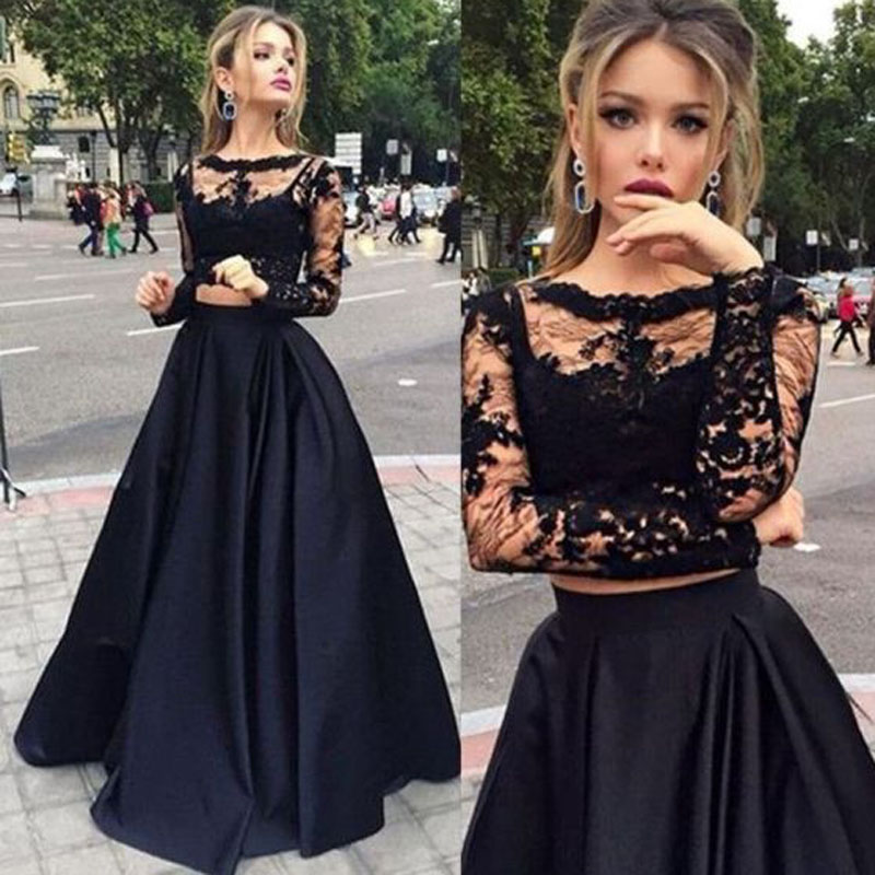 Aliexpress.com : Buy Fashion Trend 2 Pieces Black Lace Prom ...