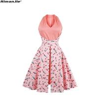 HimanJie women vintage dresses 2017 summer sleeveless red lips lipsticks print A-line party dress rockabilly tunic vestidos 4XL