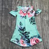 2018 new Summer dress girls kids boutique clothing mint flower pattern maxi dress super cute baby kids wear short sleeves dress
