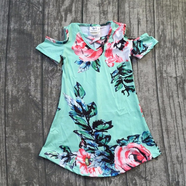 2018 new Summer dress girls kids boutique clothing mint flower pattern maxi dress super cute baby kids wear short sleeves dress