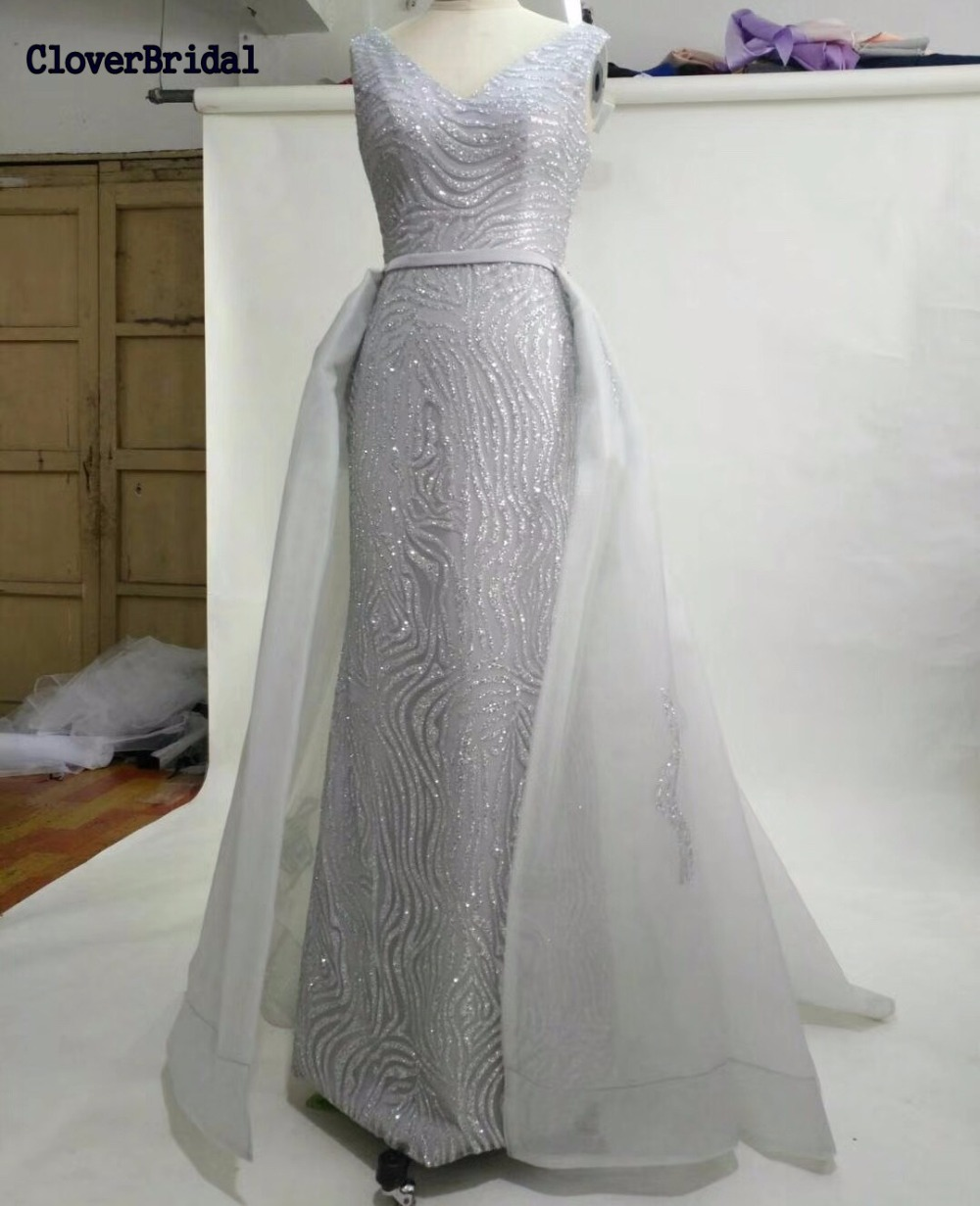 CloverBridal 2017 new mermaid long train silver   dress   for graduation shinning luxury glitter bling   prom     dresses   with outerskirt