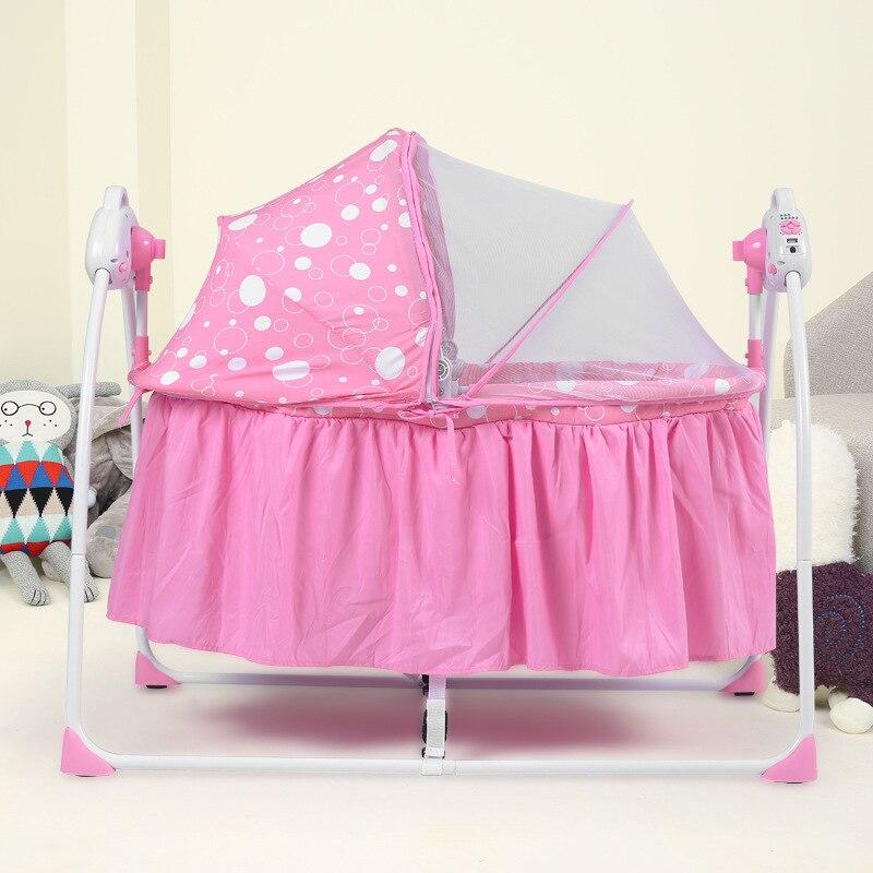 Nouveau berceau électrique multifonctionnel bébé berceau berceau Portable pliant nouveau-né berceau avec musique et moustiquaire