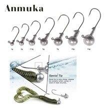 Anmuka Original Color Fish Lead Headed Jigs Hook 1g-14g Fishing Soft Worm Lure Baits Lead Jig Head FishHooks