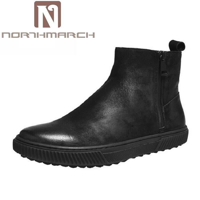 цена на NORTHMARCH Men Boots Genuine Leather Italian Luxury Fashion Ankle Boots Elegant Men Dress Shoes For Wedding Business Ayakkabi
