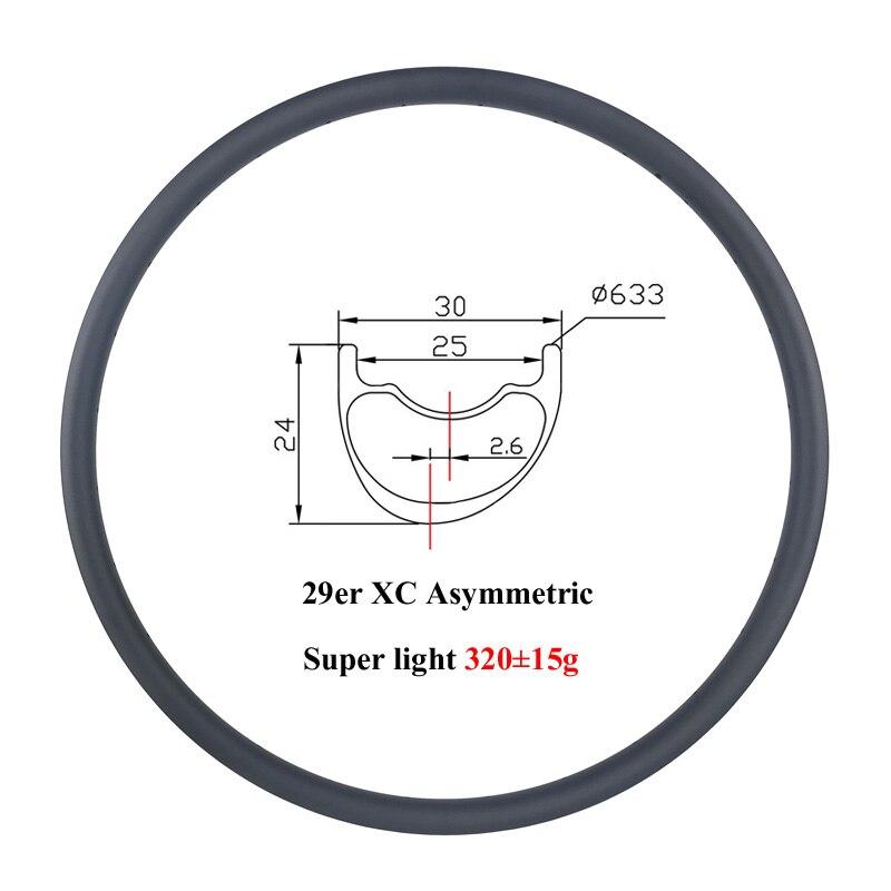 Super light 320g 29er MTB XC 30mm asymmetric 24mm deep offset 2 6mm carbon rim cross
