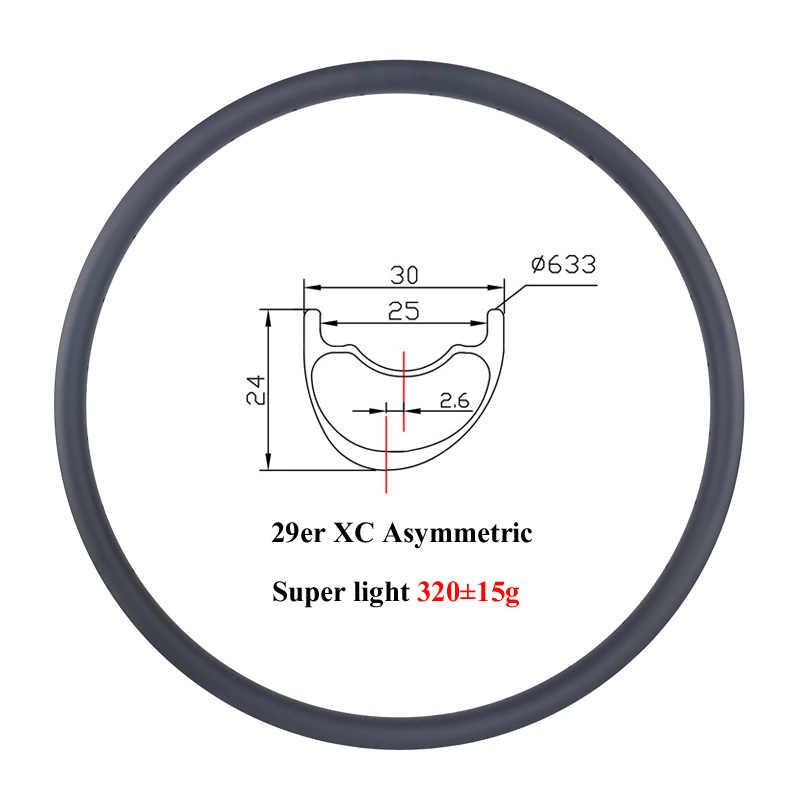 Super léger 320g 29er vtt XC 30mm asymétrique 24mm décalage profond 2.6mm jante en carbone asymétrie de fond 29 pouces jantes 24 28 trous
