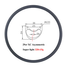 Super light 320g 29er MTB XC 30mm asymmetric 24mm deep offset 2.6mm carbon rim cross country asymmetry 29 inch rims 24 28 holes(China)
