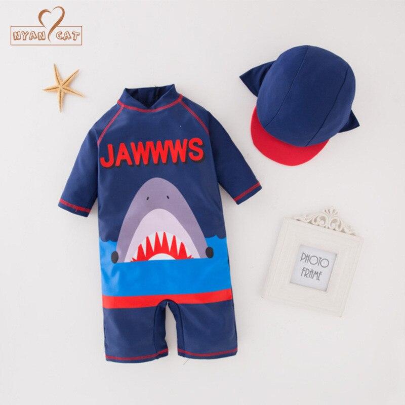 d1e27e8266 2019 Nyan Cat Summer Baby Boy Blue Shark Swimwear+Hat Set Swimming ...