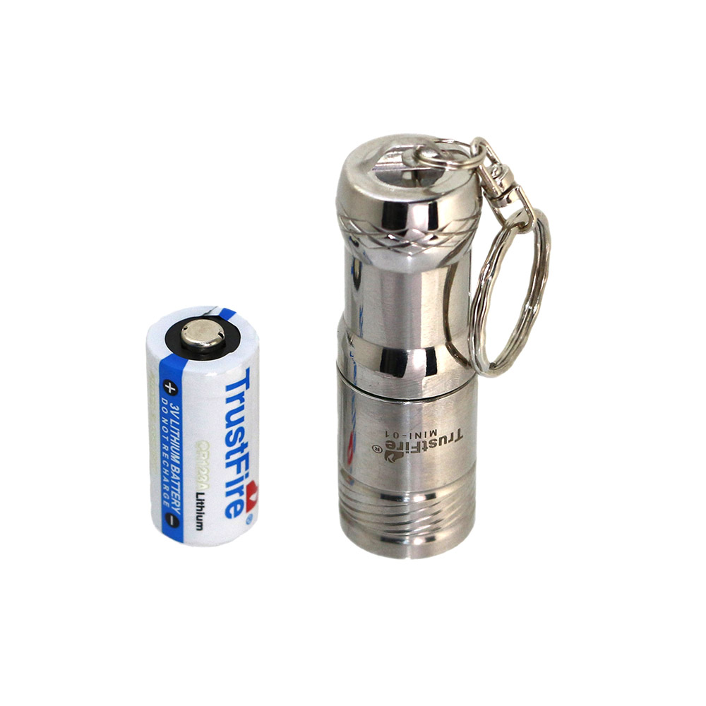 Trustfire Mini Stainless Steel Keychain Flashlight CREE XM-L 3-mode LED Torch+CR123A Battery stainless steel mini spoons scoops keychain