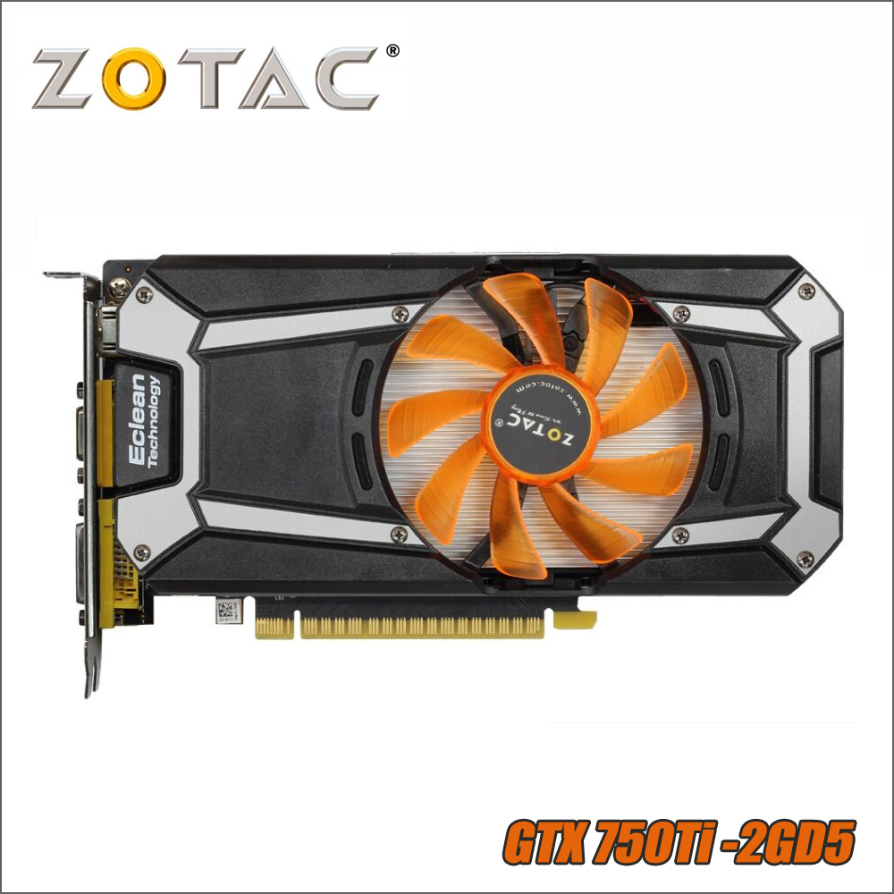 Оригинал ZOTAC видеокарта GeForce GTX 750 Ti 2 ГБ 128Bit GDDR5 Графика карты для nVIDIA GTX750Ti GTX 750Ti 2GD5 VGA, Hdmi, Dvi
