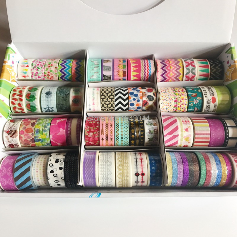One Box 74 Rolls/Lot Washi Tapes For DIY Scrapbooking Tools Masking Tape Photo Album Decorative Stationery Tapes