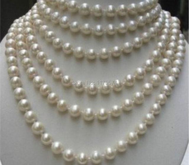 Nueva moda del todo-fósforo LARGO de la muchacha de 100 PULGADAS AA + 8-9 MM BLANCO Perlas Cultivadas de akoya COLLAR de perlas de la joyería haciendo YS0317