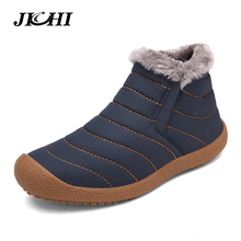 2018 Autumn Winter Casual Snow Boots Men Waterproof Ankle Boots Flat Slip-on Resistant Fashion Man Winter Shoes Big Size