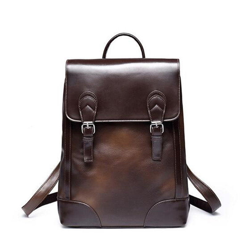 ФОТО Designer brand fashion bag black genuine leather men's backpacks preppy style brown men backpack bolsas mochila feminina