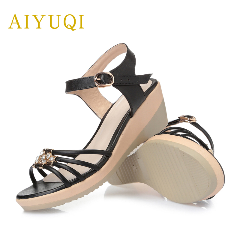 AIYUQI 2018 New Genuine Leather Female Summer Sandals Comfort Breathable Wedge Thickness Plus Size 41#42#43# Shoes women aiyuqi 2018 new genuine leather women sandals summer flat middle aged mother sandals plus size 41 42 43 casual shoes female