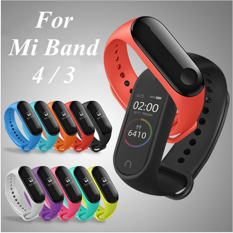 Mi Band 4 3 Silicone Pure Color Strap For Xiaomi Mi Band 4 3 Bracelet Replacement Wrist Band Straps MiBand 4 Miband 3 Straps
