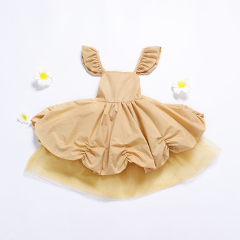 Girls Baby Golden Color Tutu Patchwork Halter Princess Dress Party Western Ruffles Lovely Kids Infant Summer New Dress