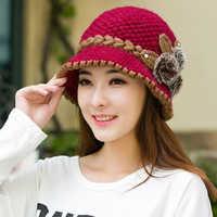 Marke Neue Warme Mütze Winter Frauen Ohrenschützer Wolle Kappe Hübsche Gestrickte Hüte Weibliche Herbst Winter Mode Mützen Hut Großhandel