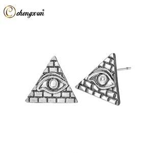 Женские серьги-гвоздики CHENGXUN, винтажная Ювелирная пирамида, античный треугольник, Древний Египет, подарок
