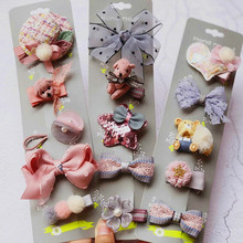 цена на Boutique child girls hair accessories hat hair bow bear hair clips for girls kids new hair ties rope elastic rubber bands gift