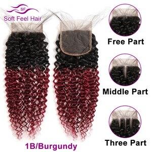 Image 4 - ソフトな感触毛ブラジル変態カーリー閉鎖黒ブルゴーニュオンブル人間の毛髪のレースクロージャー 4 × 4 1B/30 レミー閉鎖