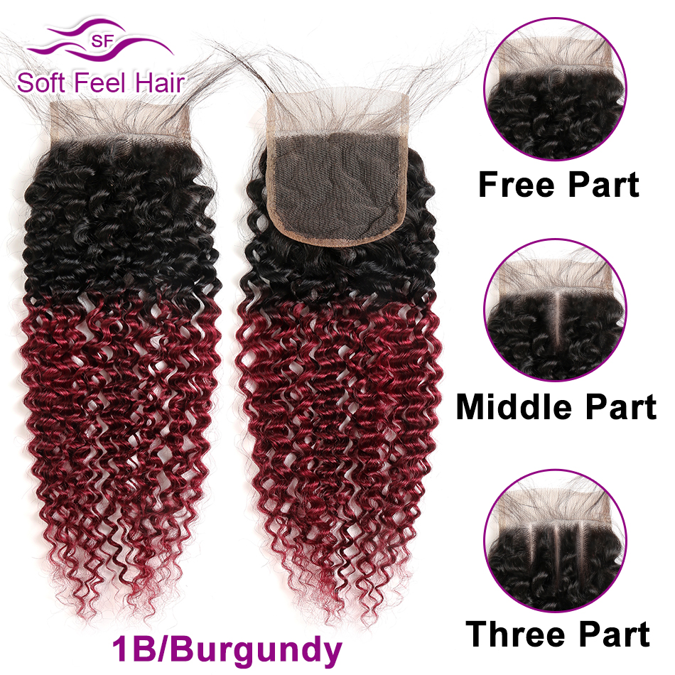 Image 3 - Soft Feel Hair Brazilian Kinky Curly Closure With Baby Hair Black Burgundy Ombre Human Hair Lace Closure 4x4 1B/30 Remy Closure-in Closures from Hair Extensions & Wigs