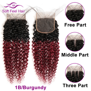 Image 4 - Soft Feel Hair Brazilian Kinky Curly Closure With Baby Hair Black Burgundy Ombre Human Hair Lace Closure 4x4 1B/30 Remy Closure