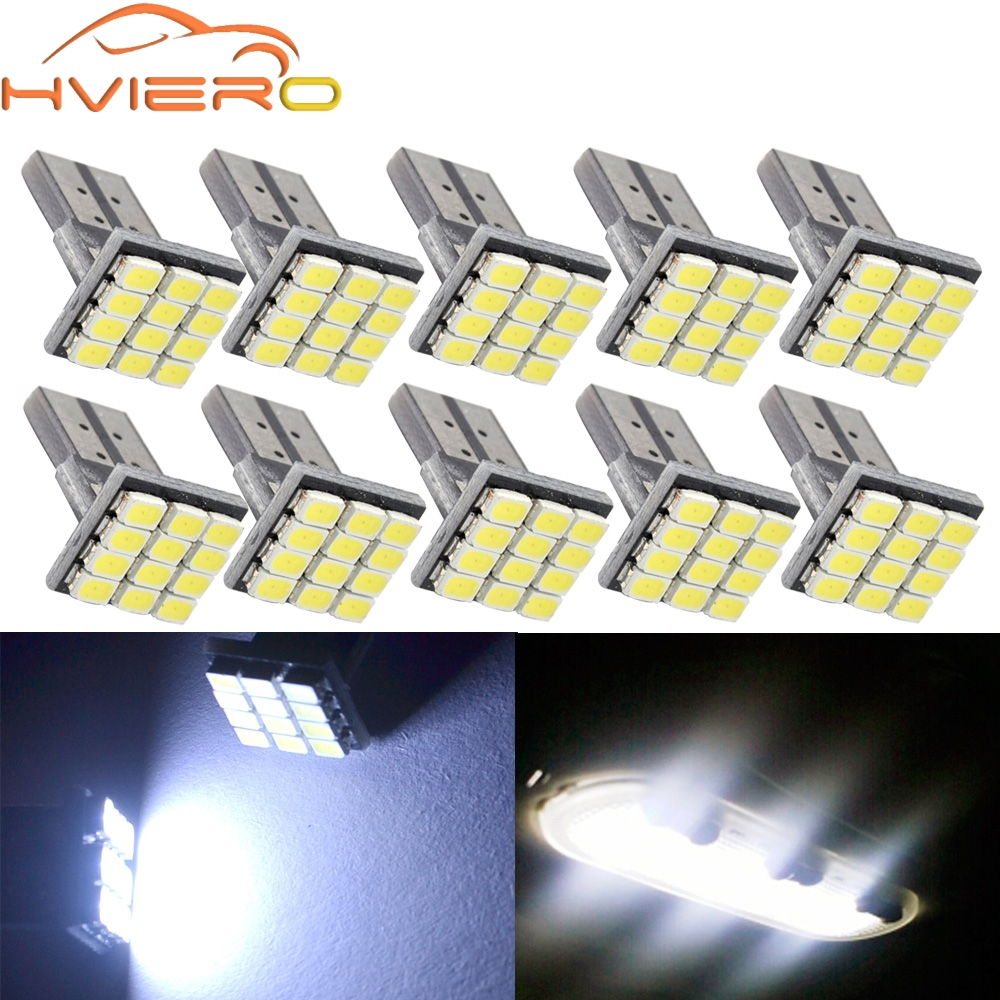 wholesale 10X T10 W5W Canbus White 3020 1206 12SMD Vehicle Tail Dashboard Lamp Car Auto Wedge Turn Signal Bulb 12Led DC 12V